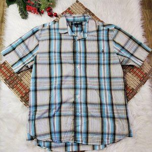 Volcom Blue Plaid Short Sleeve Button Down Shirt